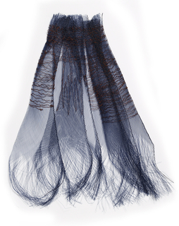 Dark blue miliner's synthetic horsehair, layered and embroidered with dark brown cotton. Denser embroidery at the top holds the horsehair layers together, while at the bottom the pieces splay apart and the plaiting begins to unravel, forming a fringe.