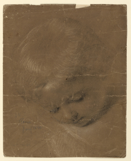 Study of a child's head, bent downwards and turned slightly to the left.