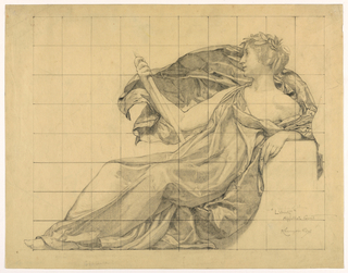 """Drawing, Drapery Study for """"Liberty"""" in """"The Statue of Law"""" Frieze for """"The Reign of the Law"""" Courtroom Mural, New York Appellate Division Courthouse"""