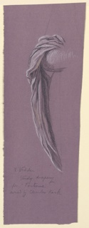 Sketch of drapery falling over an arm.