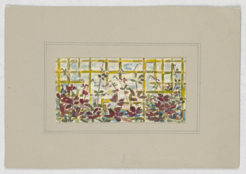 Chartreuse trellis with burgundy flowers.