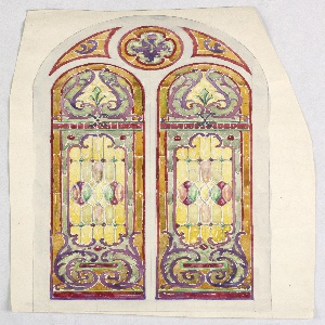 Design of arched window with separate panels, all framed by green-yellow and red; two vertical panels identical designs of nautilus pattern in blue and pink, overlapping rows of green-yellow and pink mandorlas, with blue C-scrolls below. Upper circular panels contains 4-lobed flower in burgundy, blue, and green with bird at center.