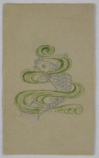 On green ground, waves and swirls in green around a silver painted fish.