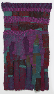 Green cotton warps interacting with a variety of purples in the weft, ranging from burgundy to magenta, with touches of blue and turquoise. Solid bands at the top diverge into six pendants, regroup and split again into nine pendants at the bottom.