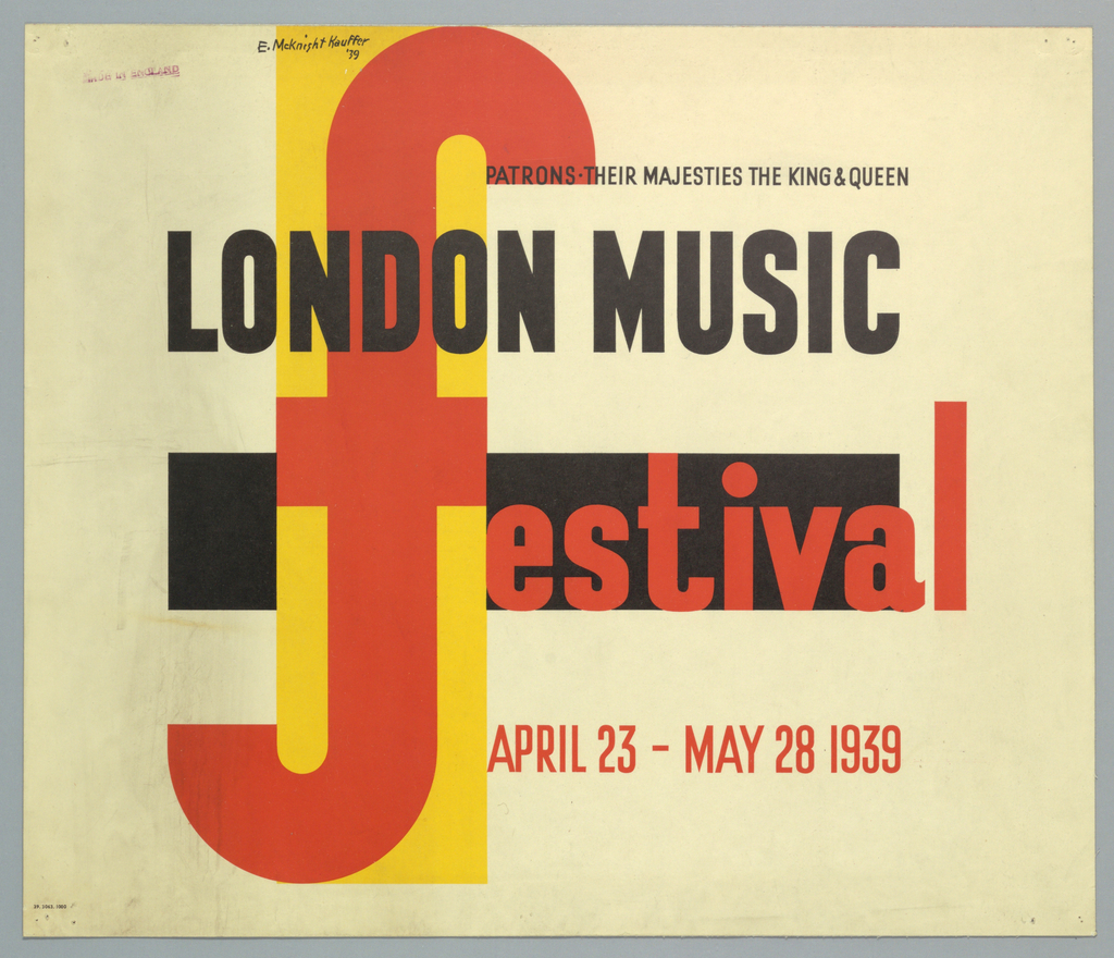 At center, a large letter F in red, superimposed on yellow, vertical rectangle, with a black horizontal rectangle behind. Across the black rectangle, in red text: [f]estival. At top in black text: PATRONS THEIR MAJESTIES THE KING & QUEEN /  LONDON MUSIC / APRIL 23 – MAY 28 1939 [in red].