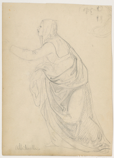 Drawing, Robed Woman Reaching Out, after Mariotto Albetinelli, 1844