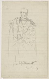 Drawing, Prof. Benjamin Silliman, Sr. Standing; Left: Prof. Benjamin Silliman, Sr. Seated, 1858