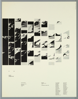 A series of photographic images, ranging from black at left to gray at right, arranged in vertical rectangles and squares.  The images are photographic close-ups of fragments of cloth, creating a lyrical, abstracted curvelinear pattern across the sheet.