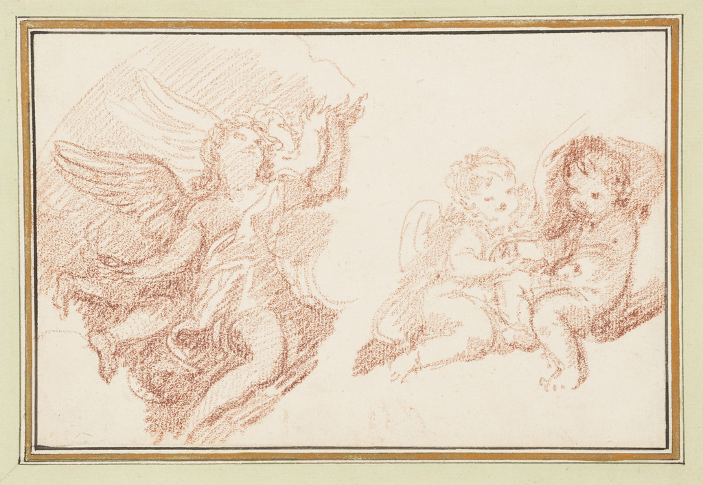 Three putti. Two seated at right. Possibly part of a mirror image behind the third.