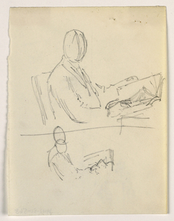 Drawing, Man seated with a book, 1879–86