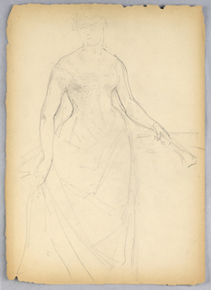 Standing woman facing in profile; right hand grasping fold of dress. Her left hand rests on a pedestal, holding a fan.