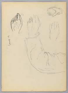 Four sketches of hands. Left arm and hand of a man; hand outlined above, and repeated in detail below. Right hand on a chair arm, upper left. Verso: Right arm and hand of a man, holding a pencil, upper left.