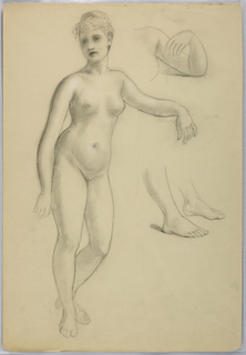 Drawing, Female Nude Standing, Sep, 1860–70