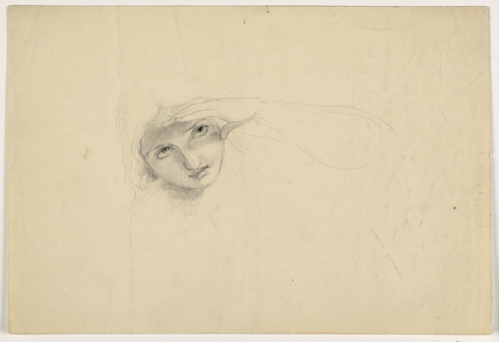 Drawing, Woman Shielding Her Eyes, ca. 1844