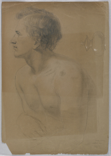 Torso of a young man in left profile. A short, rounded container with a lid at upper right, drawn horizontally.