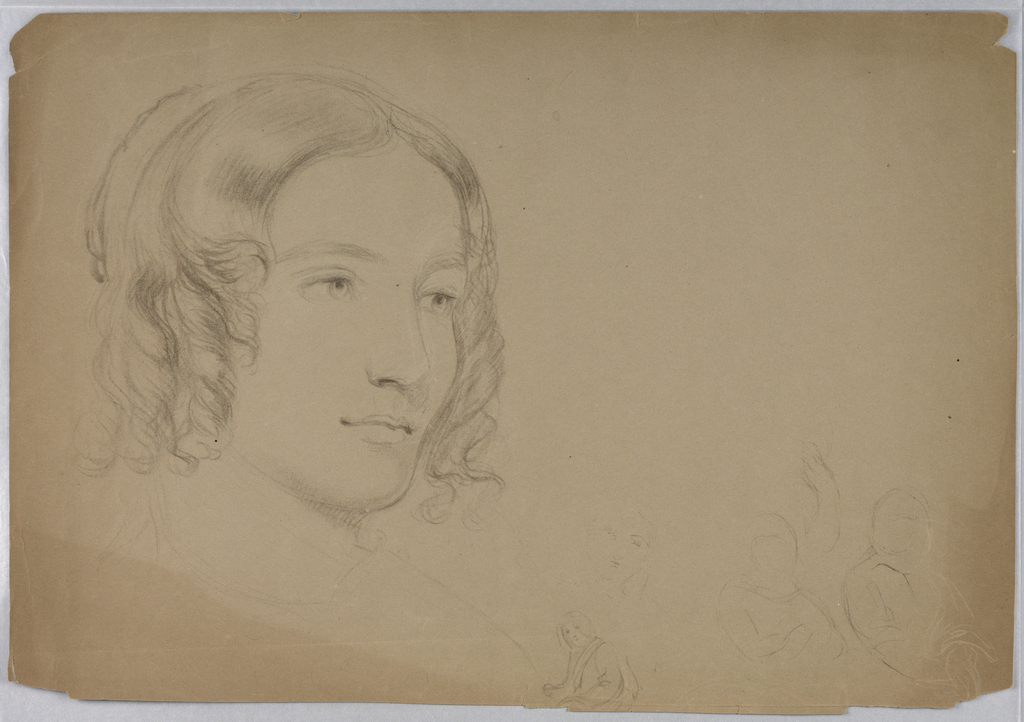 Drawing, Sketches of women's heads, 1840s