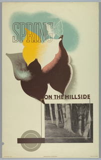 Poster design for the London Underground, advertising the countryside which can be reached by the railway. Three butterflies superimposed on top of one another, abstractly rendered in brown, yellow and white, and white outline. In lower, right portion, a black-and-white photograph of trees by John Dixon-Scott. At top in brown outline: SPRING. Between the butterflies and the photograph, in brown: ON THE HILLSIDE. Aligned with the bottom, left corner of the photograph: [London Underground logo in gray scale].