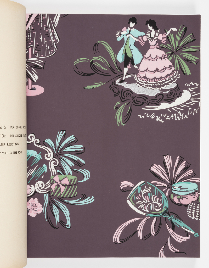 The sample book contains a variety of designs for all the rooms of the home. Many patterns are shown with a complimentary paper.  Includes a children's paper with rocket ships and space stations, a western theme with cowboys and Indians, a wood grain, a selection of kitchen and bathroom papers, a nursery paper. Two independent ceiling papers.  All designs are shown in multiple colorways.