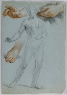 Drawing, Male Nude Standing, Separ, 1858