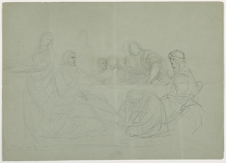 Drawing, Mary Washing the Feet of Christ, Several Men Seated at a Table; Verso: notes, 1852