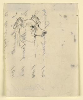 Drawing, Dog's Head, probably Milo (a Pointer), ca. 1862