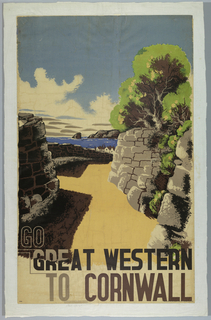 Poster design encouraging travel to Cornwall via the Great Western Railway. A village positioned along a coastline in the distance, seen through a road that runs between a stone-walled cut in the foreground. At bottom, in brown text: GO / GREAT WESTERN / TO CORNWALL