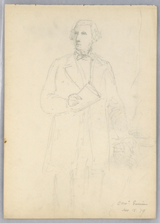 Man standing, facing frontally, looking to left, with papers in his right hand. Verso: Woman, center, seated, facing frontally, holding a sword. Another to the right, facing her.