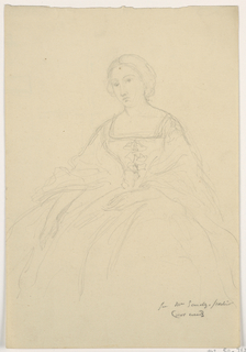 Drawing, Mrs. Sheppard Gandy Seated; Verso: Line sketch, 1859