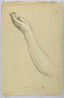 Left hand and forearm outstretched. Verso: Young woman in left profile, walking with arms outstretched.