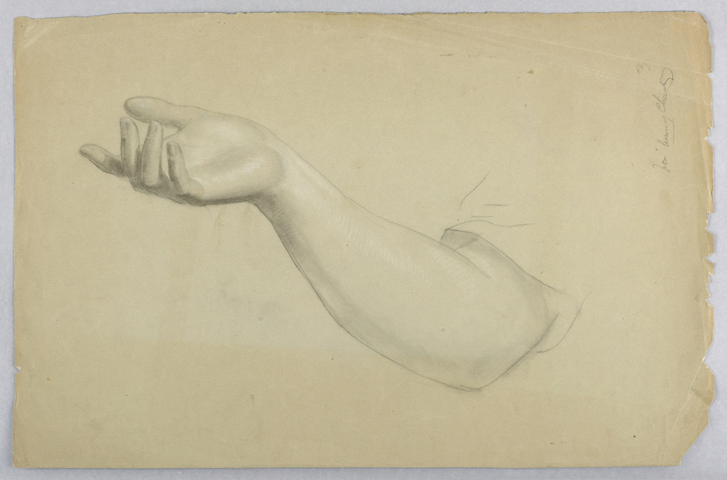 Raised right hand and forearm. Verso: Raised arms and folded hands.