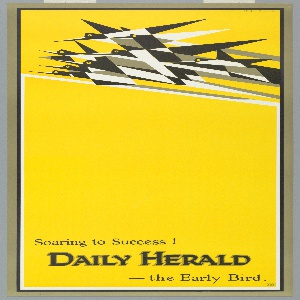 On a bright yellow ground, black, white, and gray origami-like group of birds flying across the top. Text below in black: Soaring to Success! / DAILY HERALD / --the Early Bird.