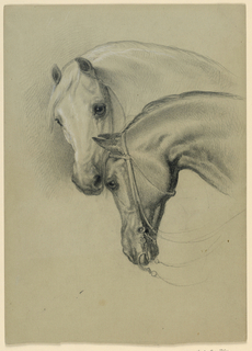 Drawing, Two Horses Heads; Verso: Seated Woman