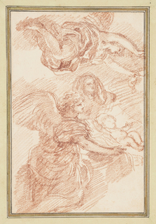 Nativity scene with angels. Vertically, an angel in the foreground and a child (Christ?) with outstretched arms and mother (Mary?) in the background. Horizontally, a second angel.