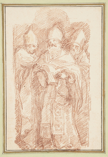 Three bishops. One stands in front of the other two and holds a book(?), presumably the Bible.