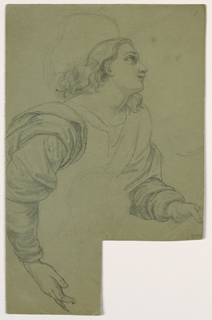 Probably after a painting. Head and arms of a figure facing right. Head in right profile, gazing upward, with halo lightly sketched. Arms with draped sleeves. Left hand holds something, and right hand supports lightly sketched figure.