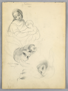 Madonna and Child, upper left, with Fra Bartolomeo's name above. Below, head of a woman, an elderly bearded man, and a man's face looking right. Name between them.