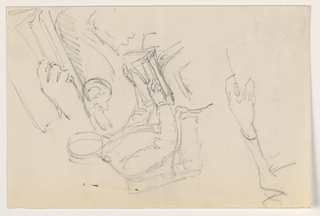 Drawing, Robert L. Stuart, Seated, First Portrait, for the Presbytarian Hospital; Separate Arm Studies, 1881