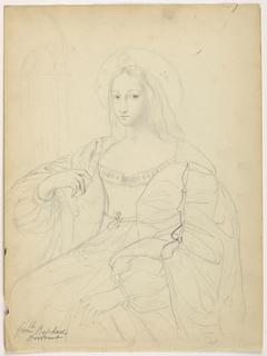 Drawing, Seated Figure in Court Dress After Raphael's Portrait Jeanne D'Aragon; Verso: Landscape, 1844