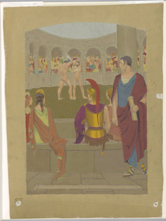 Figures watch two nude boxers in an arena. Arches around arena supported by columns, and grandstands roofed over.