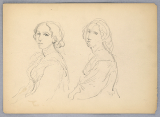 Two bust-length studies of a woman facing left, head turned frontally. Verso: Profile bust, head to front.