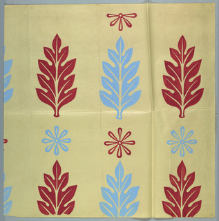 Leaf and flower motifs rendered in powder blue and deep pink are arranged in alternating rows.