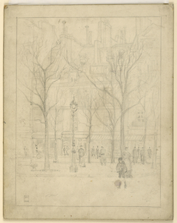 vertical rectangle. View looking accross a Paris boulevard, with a priest and numerous other figures in the scene.  Bare trees in the center strip dividing the street.