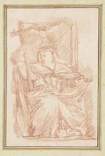Seated female figure with a cross in her right hand. In her left is a model of a building. A dove, possibly the Holy Spirit, is above her head.