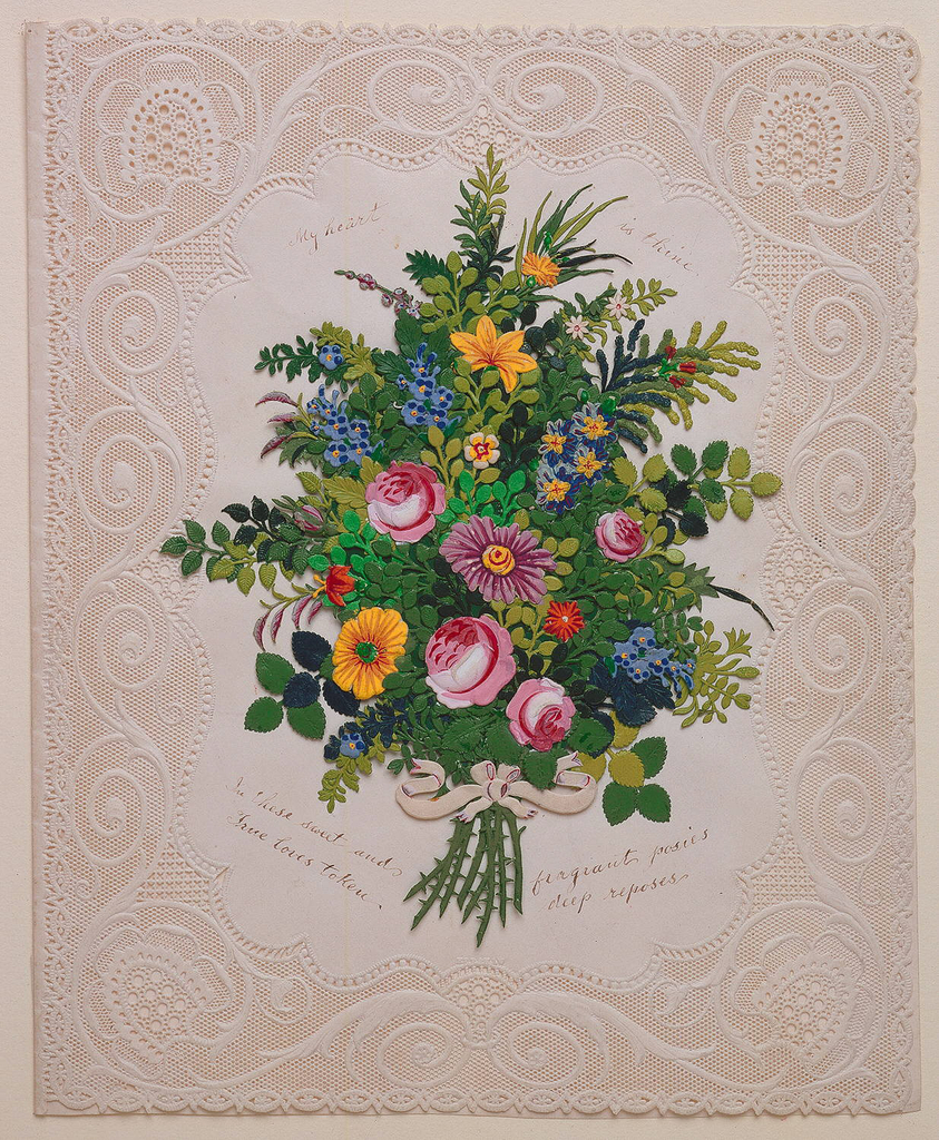 Bouquet of colorful flowers in pink, blue, yellow, and leaves of different greens. Cut paper is decorated with spirals and dots. Inscriptions throughout.