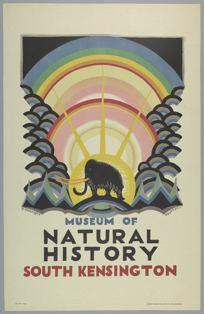 Poster design for the London Underground, advertising the Museum of Natural History, which can be reached by the railway. At center, a wooly mammoth shown in left profile, flanked on either side by hilltops. A stylized sun rises behind it, as do concentric circles of rainbow-colored light.