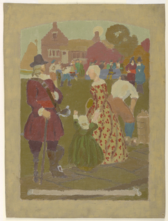 Dutch scene. Figure are seen at lawn bowls before a house with stepped gables.