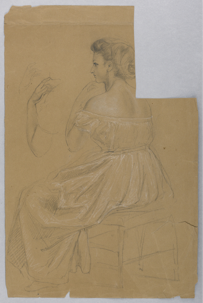 Woman on a small bench with her head in left profile and her left hand to her chin. The arm is repeated, upper left. Verso: Unfinished female head in white chalk.
