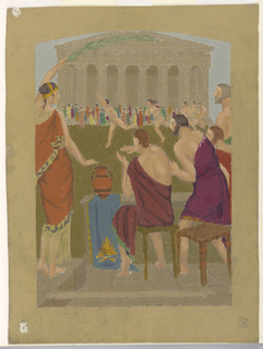 Spectators watch running nude athletes before a Doric temple.