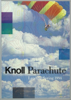 Poster featuring a sky with clouds as background with a parachute in the upper right corner; colored lines all around. Text in black: Knoll Parachute.