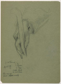 A right hand holding a cane near the handle. Verso: Two sketches of a right hand resting on a surface.